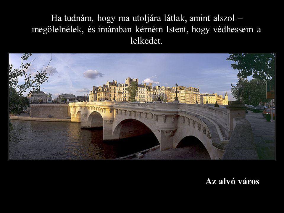 Az alvó város Ha tudnám, hogy ma utoljára látlak, amint alszol – megölelnélek, és imámban kérném Istent, hogy védhessem a lelkedet.