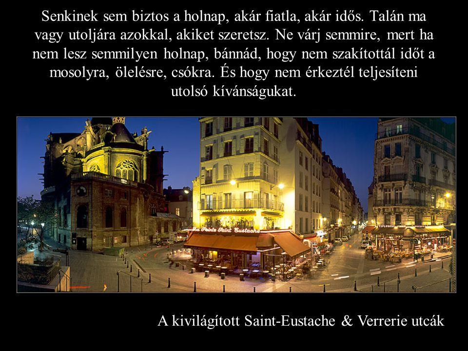 A kivilágított Saint-Eustache & Verrerie utcák Senkinek sem biztos a holnap, akár fiatla, akár idős.
