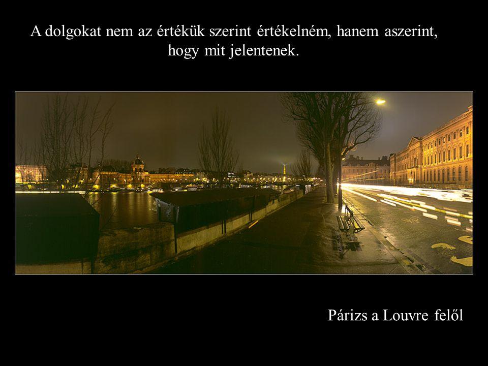 Párizs a Louvre felől A dolgokat nem az értékük szerint értékelném, hanem aszerint, hogy mit jelentenek.