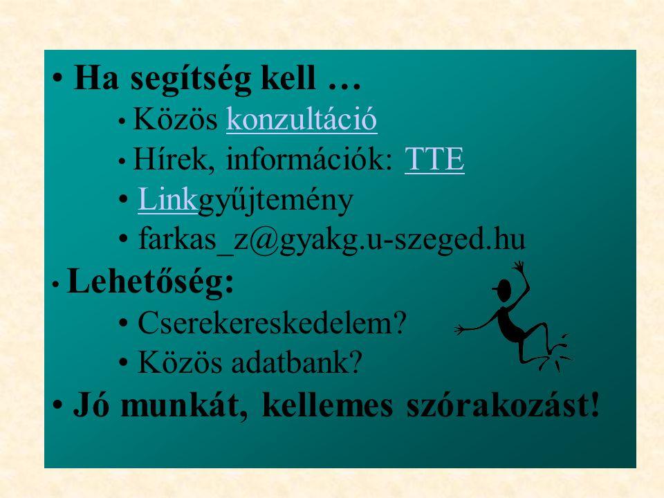 Ha segítség kell … Közös konzultációkonzultáció Hírek, információk: TTETTE LinkgyűjteményLink farkas_z@gyakg.u-szeged.hu Lehetőség: Cserekereskedelem.