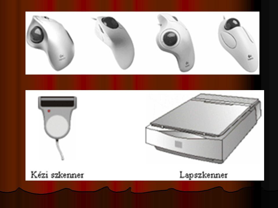Bemeneti egységek - INPUT Digitális fényképezőgép Digitális fényképezőgép Digitális fényképezőgép Digitális fényképezőgép Digitális kamera Digitális kamera Digitalizáló tábla Digitalizáló tábla Digitalizáló tábla Digitalizáló tábla Érintőpad (Touchpad) Érintőpad (Touchpad) Érintőpad (Touchpad) Érintőpad (Touchpad) Fényceruza (Light pen) Fényceruza (Light pen) Fényceruza (Light pen) Fényceruza (Light pen) Játékvezérlők Játékvezérlők Botkormány (Joystick) Botkormány (Joystick) Gamepad Gamepad Kormány Kormány