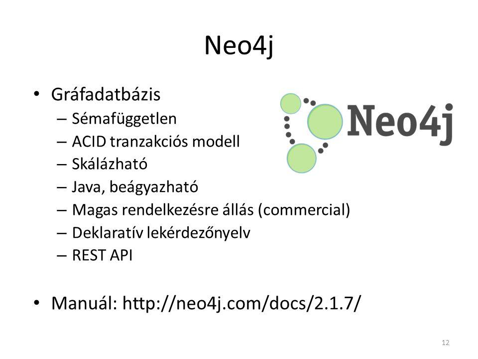 Neo4j Gráfadatbázis – Sémafüggetlen – ACID tranzakciós modell – Skálázható – Java, beágyazható – Magas rendelkezésre állás (commercial) – Deklaratív l