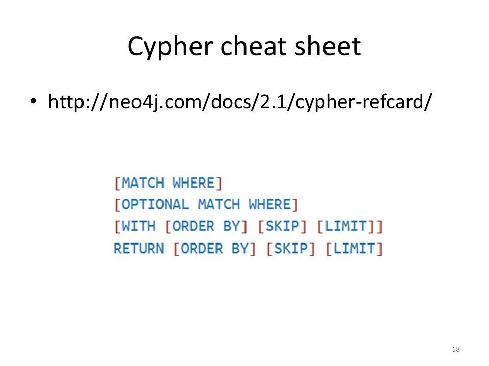 Cypher cheat sheet http://neo4j.com/docs/2.1/cypher-refcard/ 18
