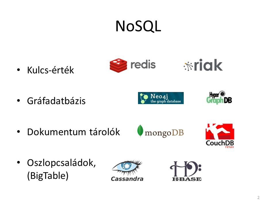 NoSQL Kulcs-érték Gráfadatbázis Dokumentum tárolók Oszlopcsaládok, (BigTable) 2
