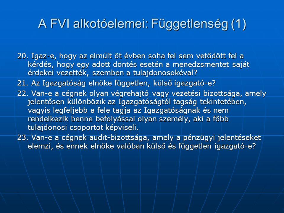 A FVI alkotóelemei: Függetlenség (1) 20. Igaz-e, hogy az elmúlt öt évben soha fel sem vetődött fel a kérdés, hogy egy adott döntés esetén a menedzsmen