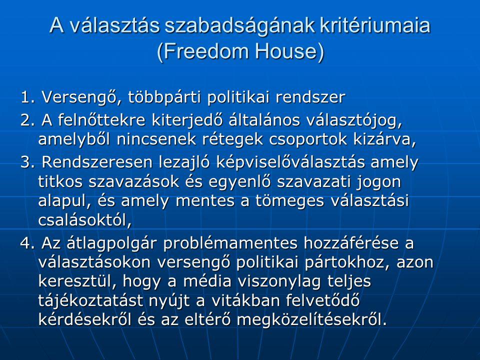 A választás szabadságának kritériumaia (Freedom House) 1. Versengő, többpárti politikai rendszer 2. A felnőttekre kiterjedő általános választójog, ame