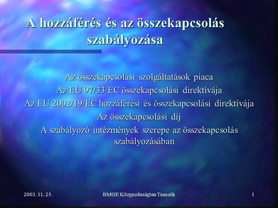 2003. 11. 25.BMGE Közgazdaságtan Tanszék1 A hozzáférés és az összekapcsolás szabályozása Az összekapcsolási szolgáltatások piaca Az EU 97/33/EC összek