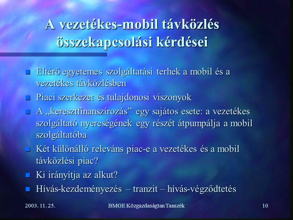 2003. 11. 25.BMGE Közgazdaságtan Tanszék10 A vezetékes-mobil távközlés összekapcsolási kérdései n Eltérő egyetemes szolgáltatási terhek a mobil és a v