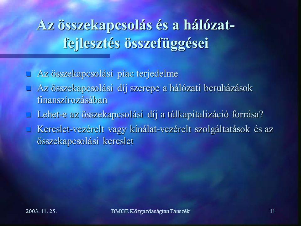 2003. 11. 25.BMGE Közgazdaságtan Tanszék11 Az összekapcsolás és a hálózat- fejlesztés összefüggései n Az összekapcsolási piac terjedelme n Az összekap