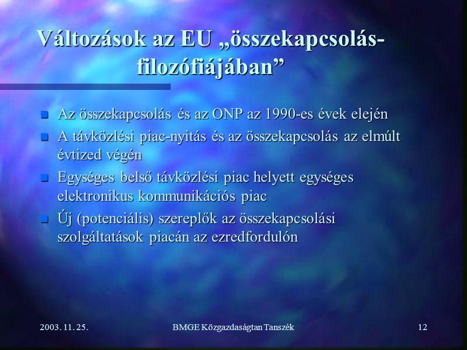 """2003. 11. 25.BMGE Közgazdaságtan Tanszék12 Változások az EU """"összekapcsolás- filozófiájában"""" n Az összekapcsolás és az ONP az 1990-es évek elején n A"""