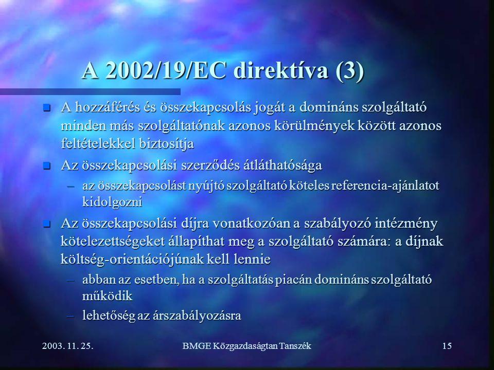 2003. 11. 25.BMGE Közgazdaságtan Tanszék15 A 2002/19/EC direktíva (3) n A hozzáférés és összekapcsolás jogát a domináns szolgáltató minden más szolgál