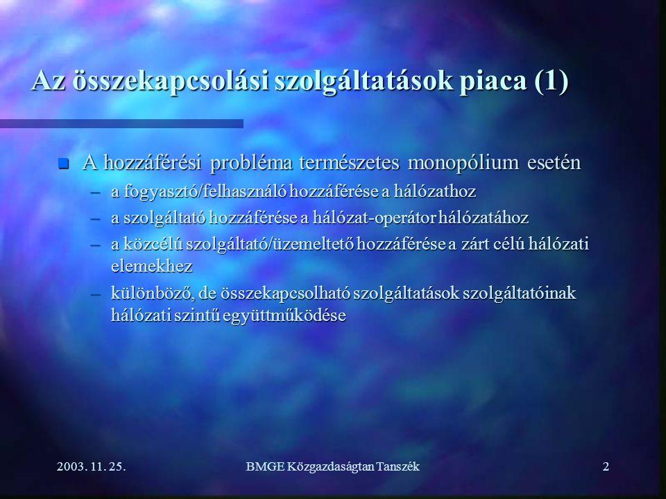 2003. 11. 25.BMGE Közgazdaságtan Tanszék2 Az összekapcsolási szolgáltatások piaca (1) n A hozzáférési probléma természetes monopólium esetén –a fogyas