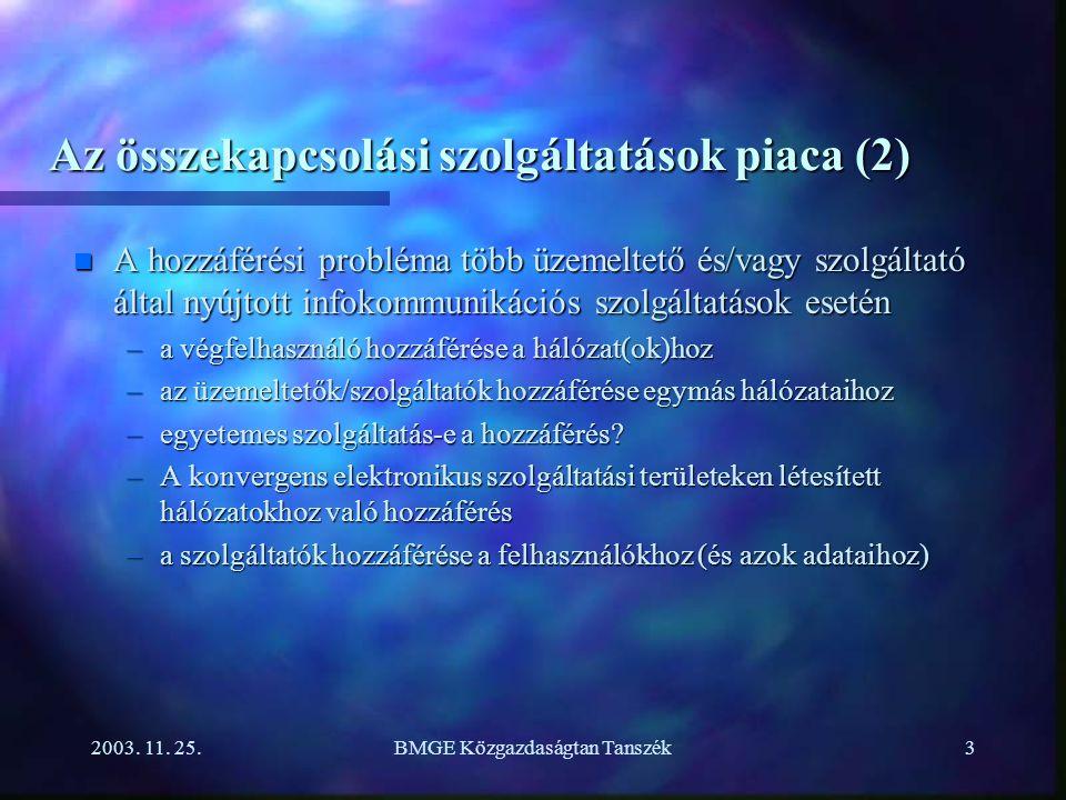2003. 11. 25.BMGE Közgazdaságtan Tanszék3 Az összekapcsolási szolgáltatások piaca (2) n A hozzáférési probléma több üzemeltető és/vagy szolgáltató ált