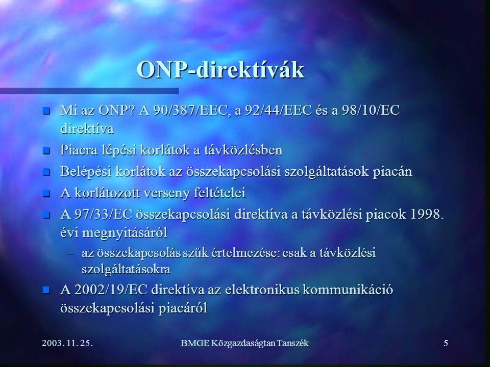 2003.11. 25.BMGE Közgazdaságtan Tanszék5 ONP-direktívák n Mi az ONP.
