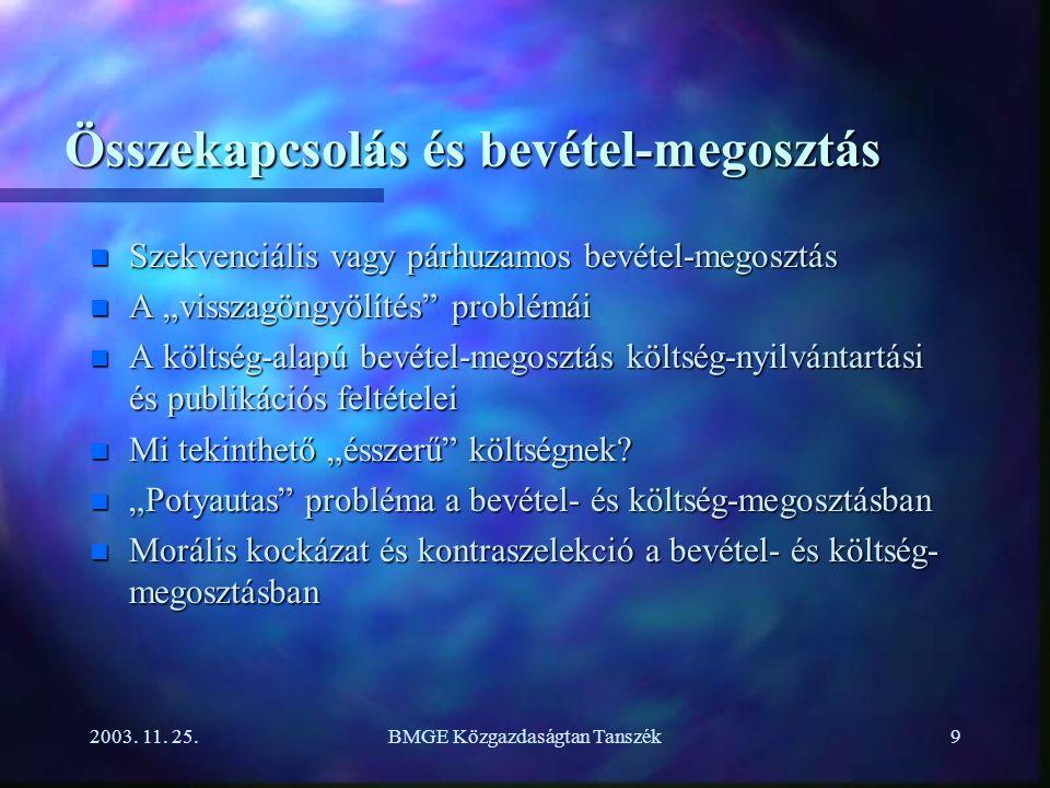 """2003. 11. 25.BMGE Közgazdaságtan Tanszék9 Összekapcsolás és bevétel-megosztás n Szekvenciális vagy párhuzamos bevétel-megosztás n A """"visszagöngyölítés"""