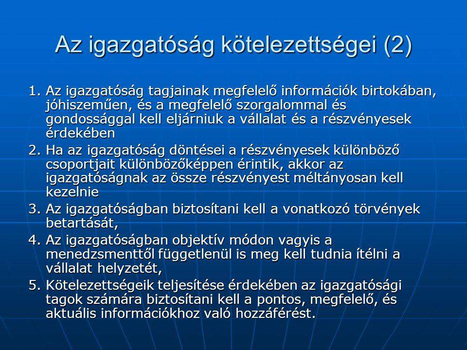 Az igazgatóság kötelezettségei (2) 1.