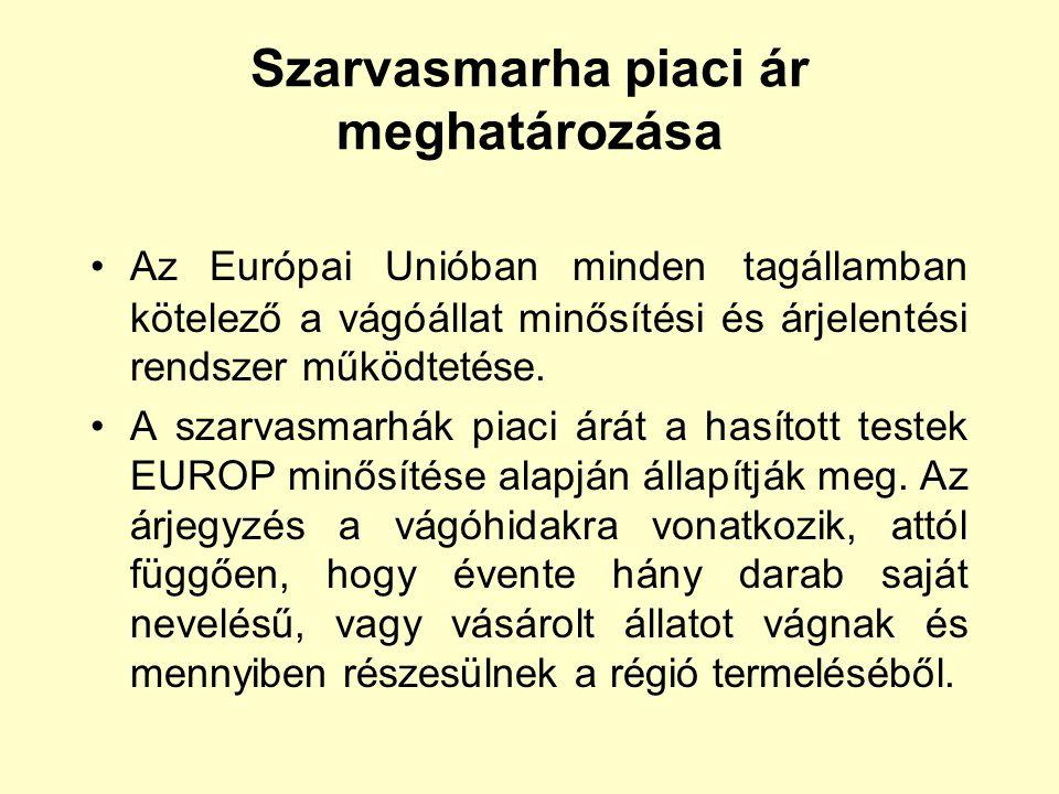 Szarvasmarha piaci ár meghatározása Az Európai Unióban minden tagállamban kötelező a vágóállat minősítési és árjelentési rendszer működtetése. A szarv