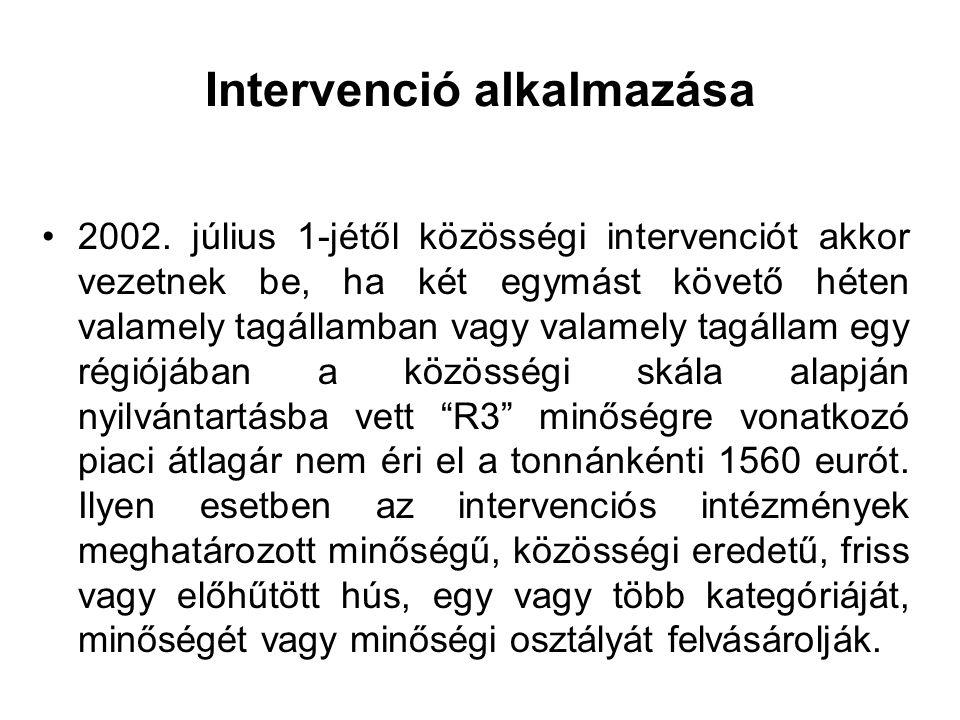 Intervenció alkalmazása 2002. július 1-jétől közösségi intervenciót akkor vezetnek be, ha két egymást követő héten valamely tagállamban vagy valamely