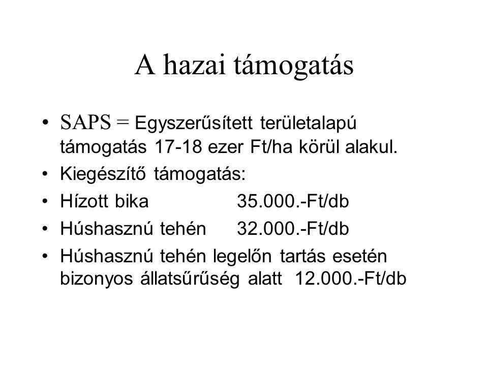 A hazai támogatás SAPS = Egyszerűsített területalapú támogatás 17-18 ezer Ft/ha körül alakul. Kiegészítő támogatás: Hízott bika 35.000.-Ft/db Húshaszn
