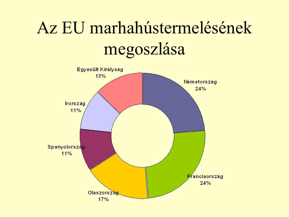 A vágómarha-termelés változása Magyarországon (ezer t)