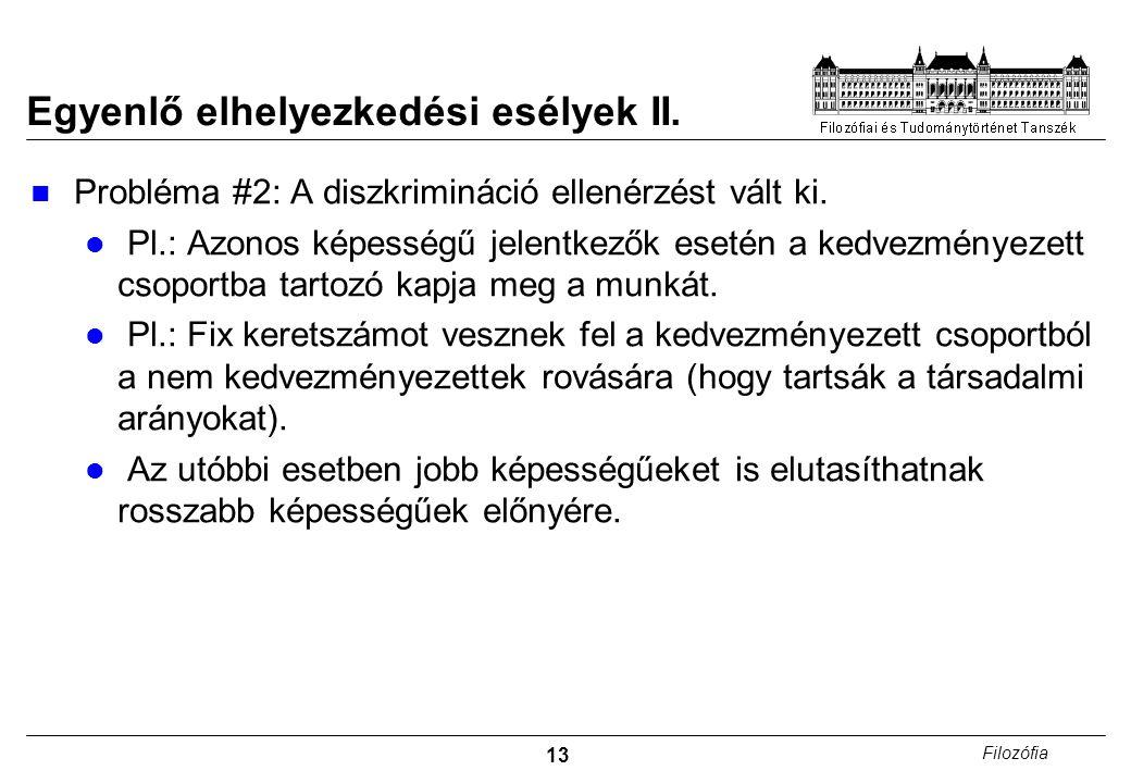 13 Filozófia Egyenlő elhelyezkedési esélyek II. Probléma #2: A diszkrimináció ellenérzést vált ki.