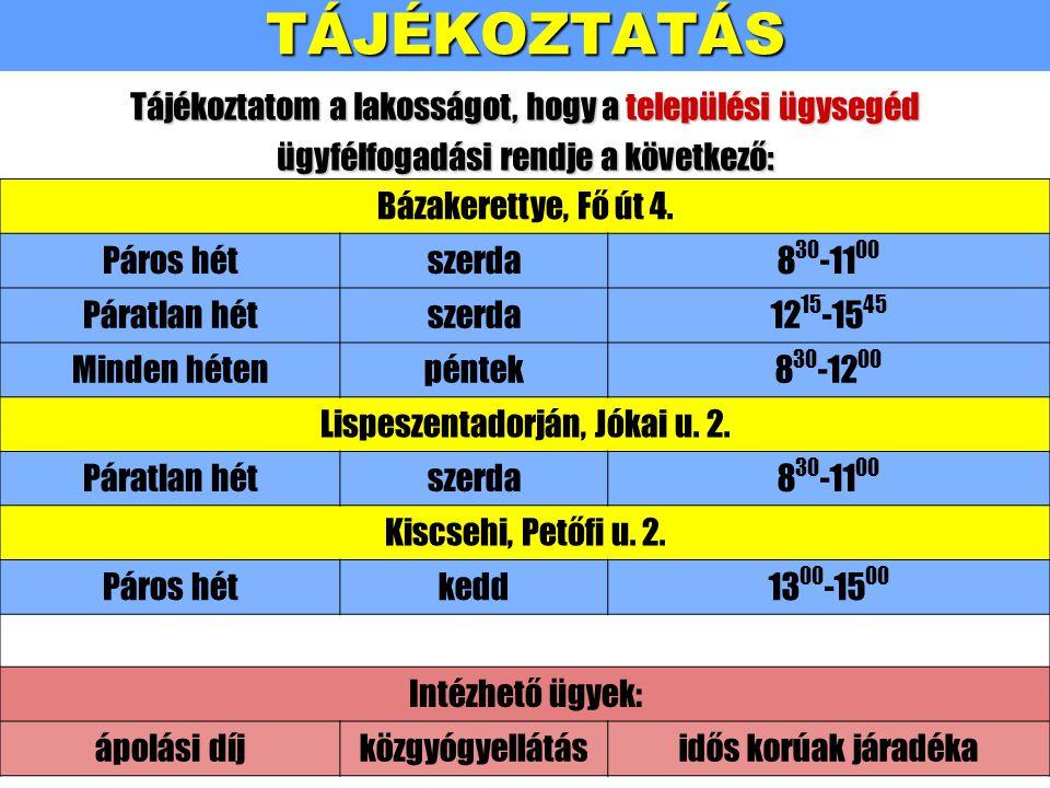 TÁJÉKOZTATÁS Bázakerettye, Fő út 4.