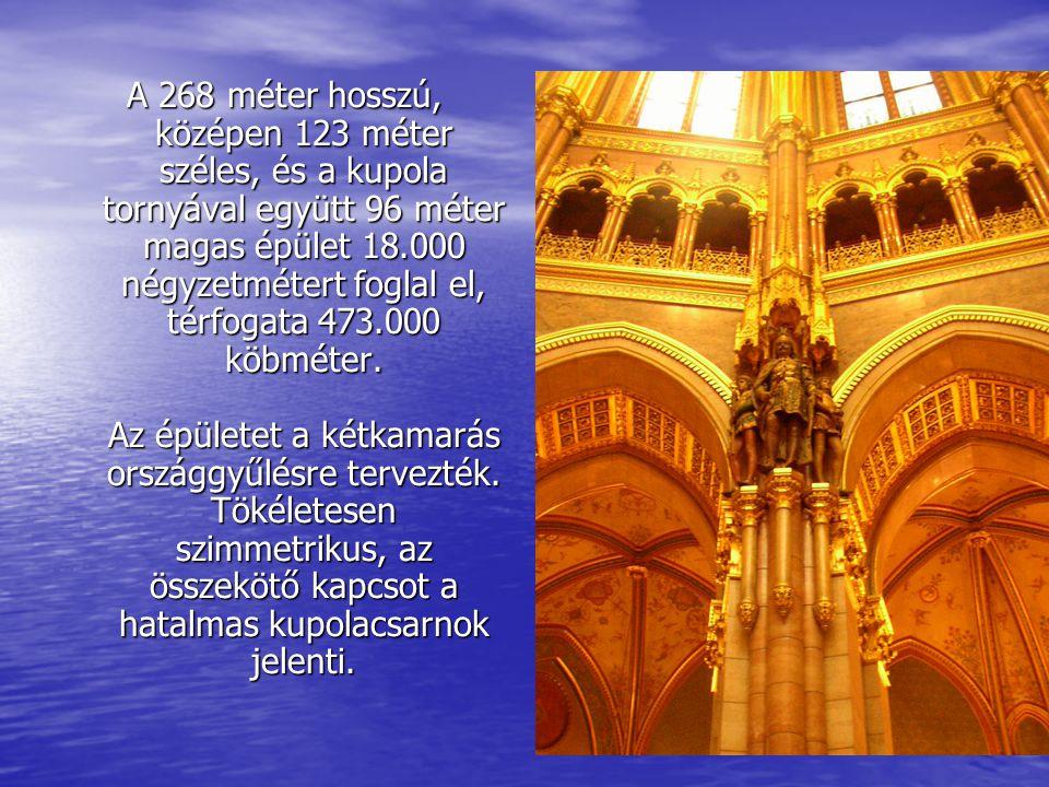 A 268 méter hosszú, középen 123 méter széles, és a kupola tornyával együtt 96 méter magas épület 18.000 négyzetmétert foglal el, térfogata 473.000 köb