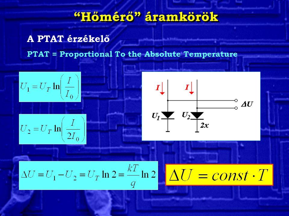 """""""Hőmérő"""" áramkörök A PTAT érzékelő PTAT = Proportional To the Absolute Temperature"""