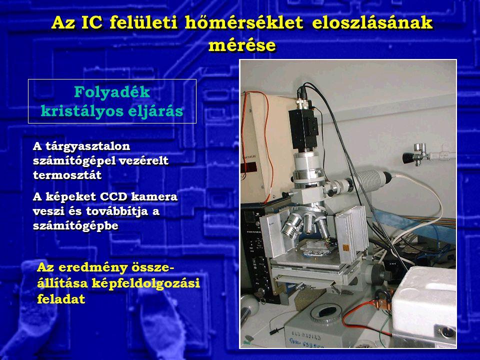 Az IC felületi hőmérséklet eloszlásának mérése Folyadék kristályos eljárás A tárgyasztalon számítógépel vezérelt termosztát A képeket CCD kamera veszi