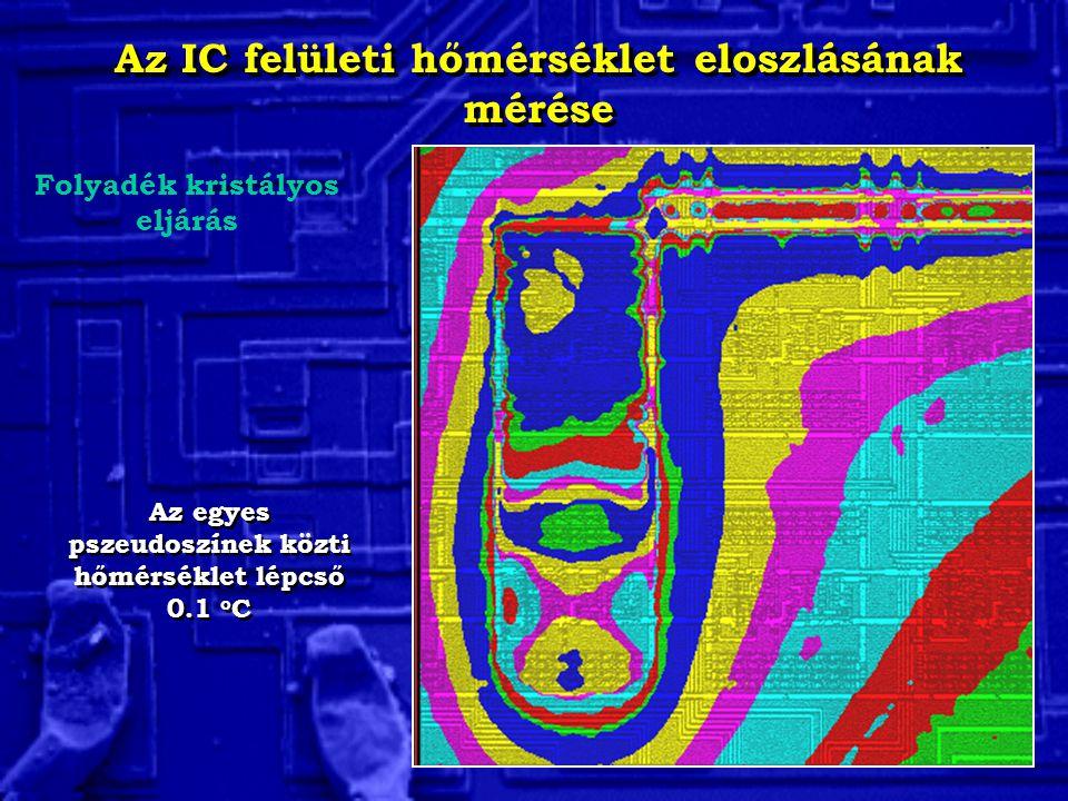 Az IC felületi hőmérséklet eloszlásának mérése Folyadék kristályos eljárás Az egyes pszeudoszínek közti hőmérséklet lépcső 0.1 o C