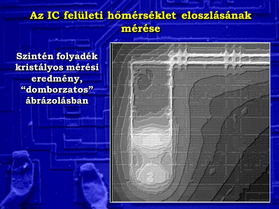 """Az IC felületi hőmérséklet eloszlásának mérése Szintén folyadék kristályos mérési eredmény, """"domborzatos"""" ábrázolásban"""