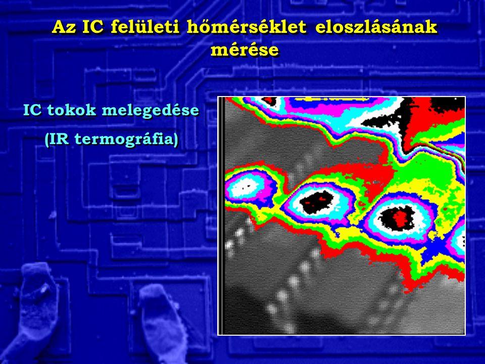 Az IC felületi hőmérséklet eloszlásának mérése IC tokok melegedése (IR termográfia) IC tokok melegedése (IR termográfia)