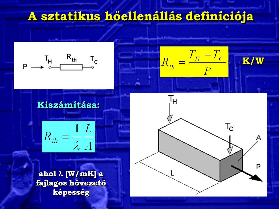 A sztatikus hőellenállás definíciója Kiszámítása: ahol [W/mK] a fajlagos hővezető képesség K/W