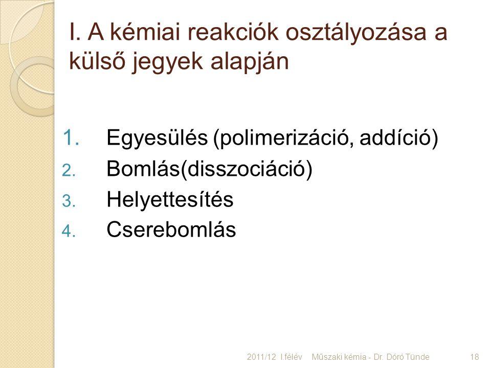 I. A kémiai reakciók osztályozása a külső jegyek alapján 1.Egyesülés (polimerizáció, addíció) 2. Bomlás(disszociáció) 3. Helyettesítés 4. Cserebomlás