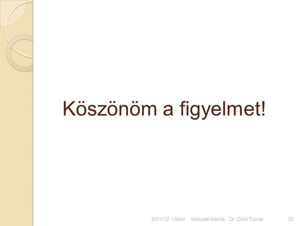 Köszönöm a figyelmet! 2011/12 I.félév 32Műszaki kémia - Dr. Dóró Tünde
