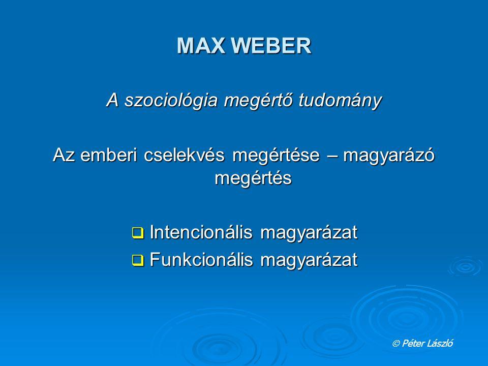 MAX WEBER A szociológia megértő tudomány Az emberi cselekvés megértése – magyarázó megértés  Intencionális magyarázat  Funkcionális magyarázat  Pét