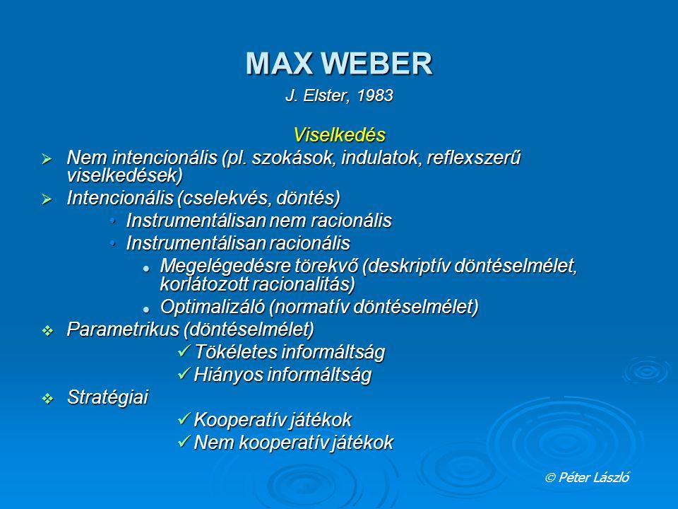 MAX WEBER J. Elster, 1983 Viselkedés  Nem intencionális (pl. szokások, indulatok, reflexszerű viselkedések)  Intencionális (cselekvés, döntés) Instr
