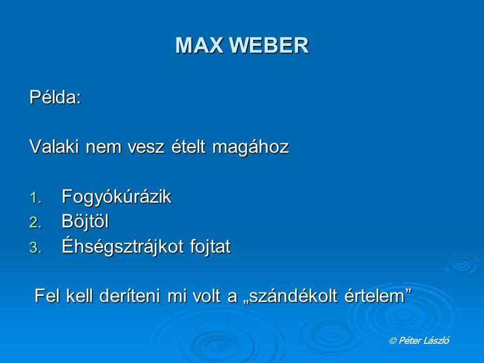 """MAX WEBER Példa: Valaki nem vesz ételt magához 1. Fogyókúrázik 2. Böjtöl 3. Éhségsztrájkot fojtat Fel kell deríteni mi volt a """"szándékolt értelem"""" Fel"""