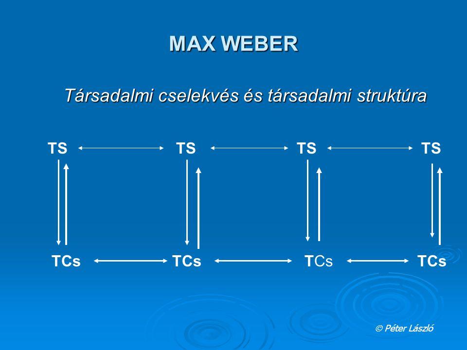 MAX WEBER  Péter László Társadalmi cselekvés és társadalmi struktúra TS TCs