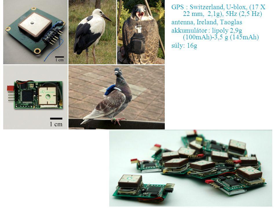 GPS : Switzerland, U-blox, (17 X 22 mm, 2,1g), 5Hz (2,5 Hz) antenna, Ireland, Taoglas akkumulátor : lipoly 2,9g (100mAh)-3,5 g (145mAh) súly: 16g