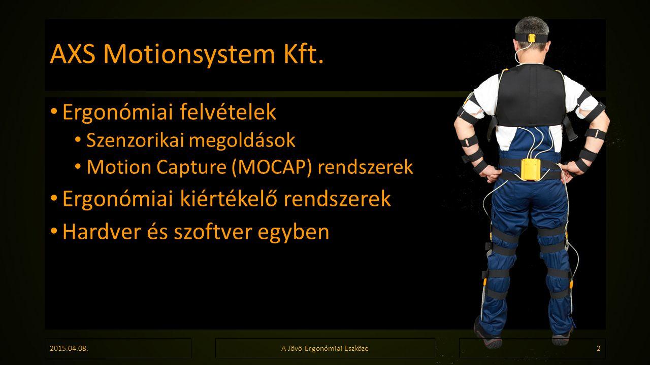 AXS Motionsystem Kft. Ergonómiai felvételek Szenzorikai megoldások Motion Capture (MOCAP) rendszerek Ergonómiai kiértékelő rendszerek Hardver és szoft