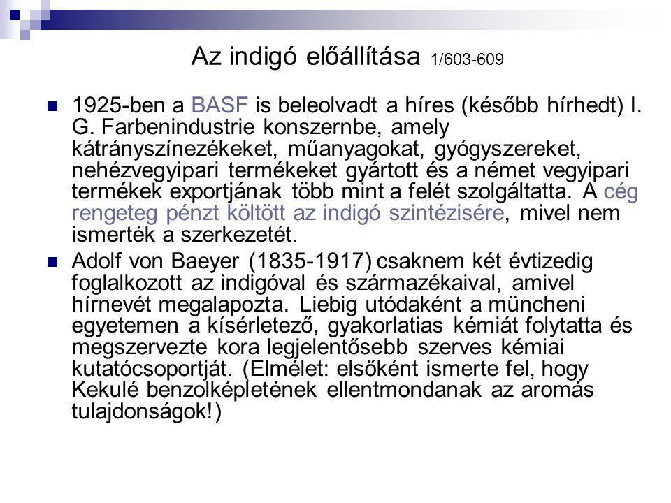Az indigó előállítása 1/603-609 1925-ben a BASF is beleolvadt a híres (később hírhedt) I. G. Farbenindustrie konszernbe, amely kátrányszínezékeket, mű