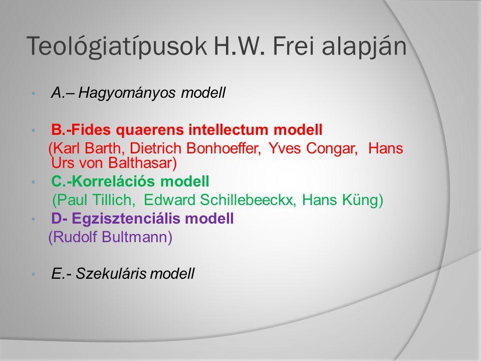 Teológiatípusok H.W. Frei alapján A.– Hagyományos modell B.-Fides quaerens intellectum modell (Karl Barth, Dietrich Bonhoeffer, Yves Congar, Hans Urs