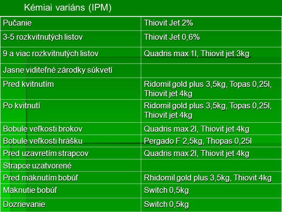 Pučanie Thiovit Jet 2% 3-5 rozkvitnutých listov Thiovit Jet 0,6% 9 a viac rozkvitnutých listov Quadris max 1l, Thiovit jet 3kg Jasne viditeľné zárodky súkvetí Pred kvitnutím Ridomil gold plus 3,5kg, Topas 0,25l, Thiovit jet 4kg Po kvitnutí Ridomil gold plus 3,5kg, Topas 0,25l, Thiovit jet 4kg Bobule veľkosti brokov Quadris max 2l, Thiovit jet 4kg Bobule veľkosti hrášku Pergado F 2,5kg, Thopas 0,25l Pred uzavretím strapcov Quadris max 2l, Thiovit jet 4kg Strapce uzatvorené Pred mäknutím bobúľ Rhidomil gold plus 3,5kg, Thiovit 4kg Mäknutie bobúľ Switch 0,5kg Dozrievanie Kémiai variáns (IPM)