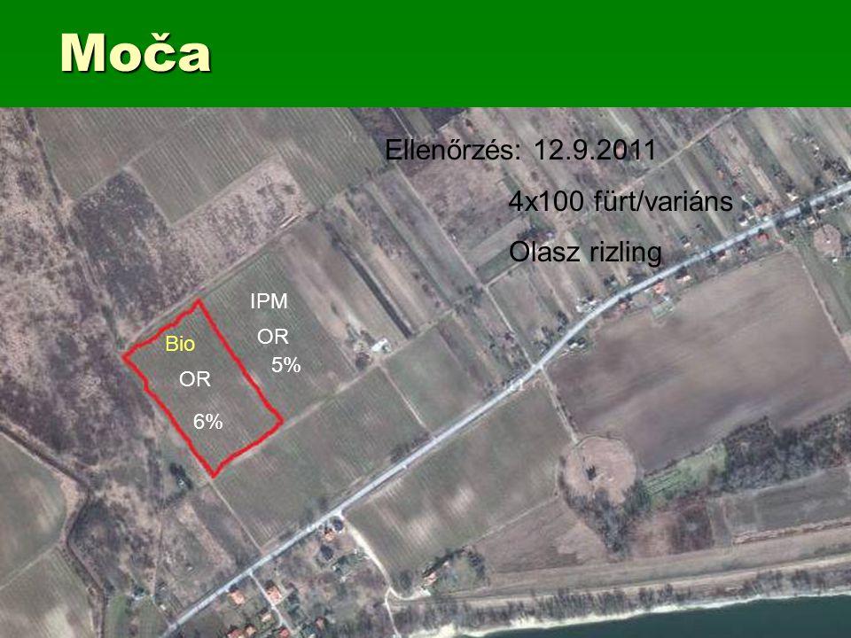 Moča Bio OR 6% IPM OR 5% Ellenőrzés: 12.9.2011 4x100 fürt/variáns Olasz rizling
