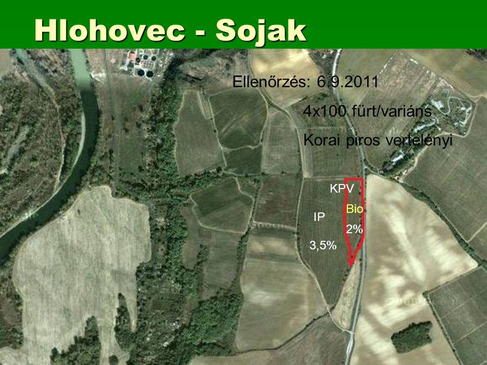 Hlohovec - Sojak KPV IP Bio 3,5% 2% Ellenőrzés: 6.9.2011 4x100 fürt/variáns Korai piros vertelényi