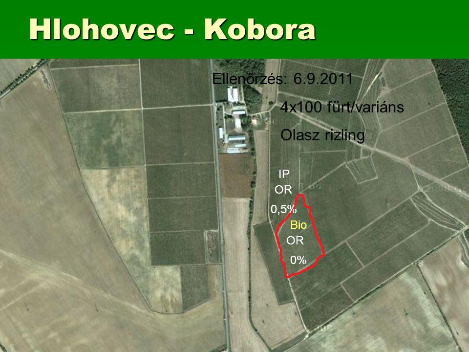 Hlohovec - Kobora Bio OR 0% IP OR 0,5% Ellenőrzés: 6.9.2011 4x100 fürt/variáns Olasz rizling