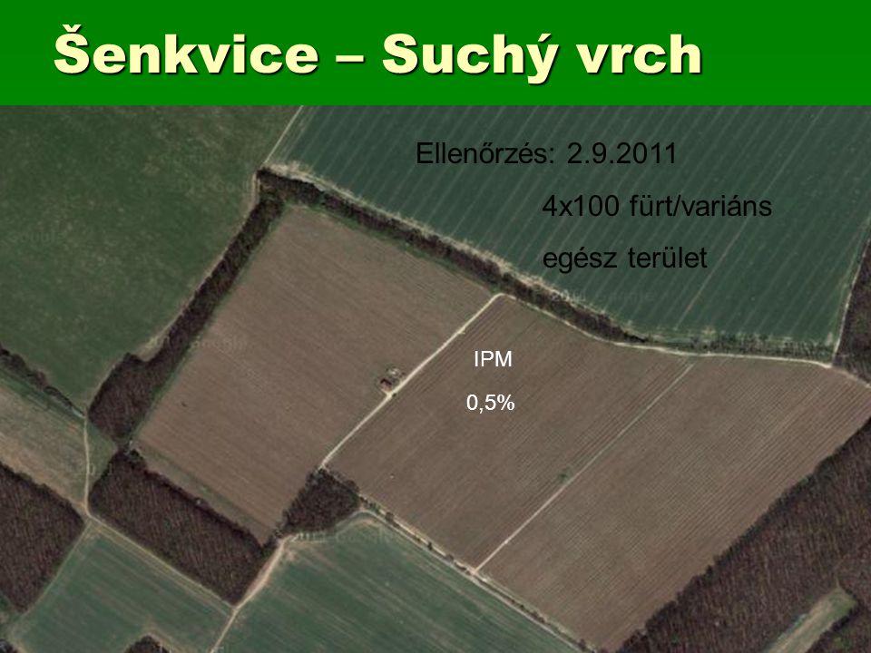 Šenkvice – Suchý vrch IPM 0,5% Ellenőrzés: 2.9.2011 4x100 fürt/variáns egész terület
