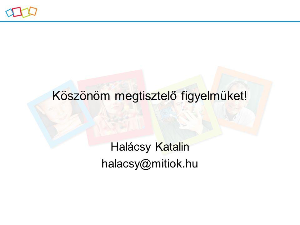 Köszönöm megtisztelő figyelmüket! Halácsy Katalin halacsy@mitiok.hu