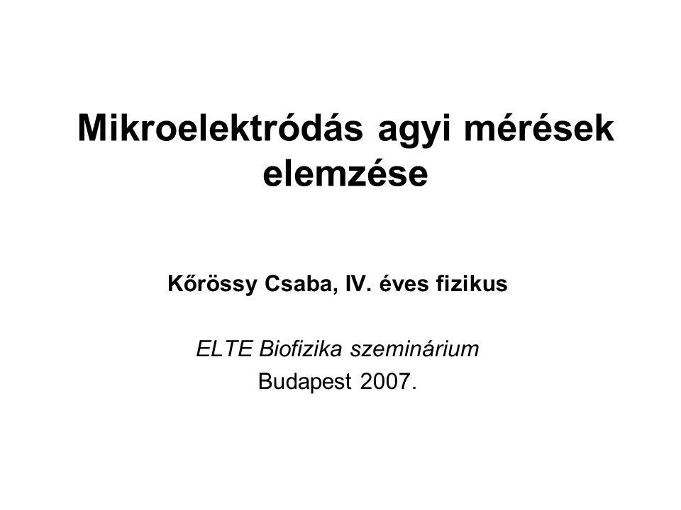 Mikroelektródás agyi mérések elemzése Kőrössy Csaba, IV.